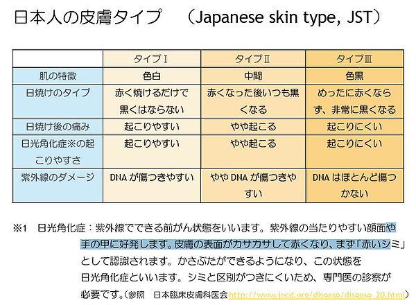 日本人の皮膚タイプ