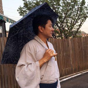 メンズ日傘スタイル